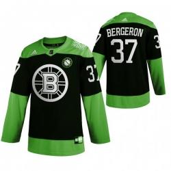 Men Boston Bruins 37 Patrice Bergeron Green 2020 Adidas Jersey