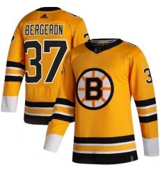 Men Boston Bruins 37 Patrice Bergeron Yellow 2020 21 Reverse Retro Adidas Jersey