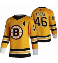 Men Boston Bruins 46 David Krejci Yellow Adidas 2020 21 Reverse Retro Alternate NHL Jersey