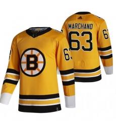 Men Boston Bruins 63 Brad Marchand Yellow Adidas 2020 21 Reverse Retro Alternate NHL Jersey