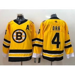 Men Boston Bruins Bobby Orr 4 Yellow 2021 Adidas Stitched NHL Jersey