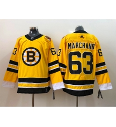 Men Boston Bruins Brad Marchand 63 Yellow 2021 Adidas Stitched NHL Jersey