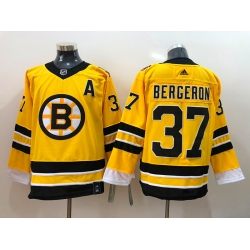 Men Boston Bruins Patrice Bergeron 37 Yellow 2021 Adidas Stitched NHL Jersey