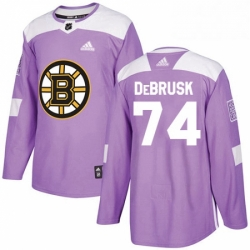 Mens Adidas Boston Bruins 74 Jake DeBrusk Authentic Purple Fights Cancer Practice NHL Jersey