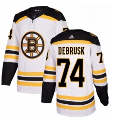 Mens Adidas Boston Bruins 74 Jake DeBrusk Authentic White Away NHL Jersey