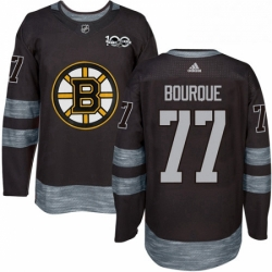 Mens Adidas Boston Bruins 77 Ray Bourque Authentic Black 1917 2017 100th Anniversary NHL Jersey