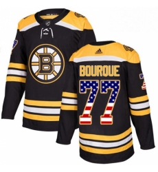 Mens Adidas Boston Bruins 77 Ray Bourque Authentic Black USA Flag Fashion NHL Jersey