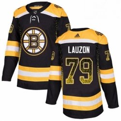Mens Adidas Boston Bruins 79 Jeremy Lauzon Authentic Black Drift Fashion NHL Jersey