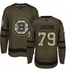 Mens Adidas Boston Bruins 79 Jeremy Lauzon Authentic Green Salute to Service NHL Jersey
