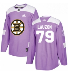 Mens Adidas Boston Bruins 79 Jeremy Lauzon Authentic Purple Fights Cancer Practice NHL Jersey