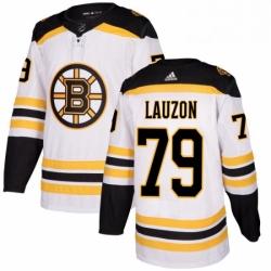 Mens Adidas Boston Bruins 79 Jeremy Lauzon Authentic White Away NHL Jersey