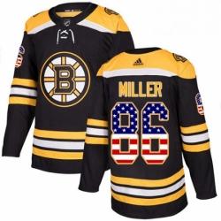 Mens Adidas Boston Bruins 86 Kevan Miller Authentic Black USA Flag Fashion NHL Jersey