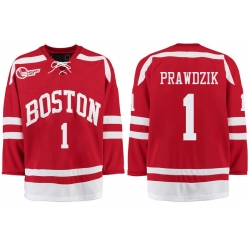 Boston University Terriers BU 1 Max Prawdzik Red Stitched Hockey Jersey