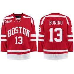 Boston University Terriers BU 13 Nick Bonino Red Stitched Hockey Jersey
