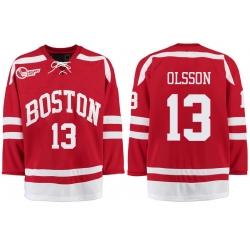 Boston University Terriers BU 13 Nikolas Olsson Red Stitched Hockey Jersey