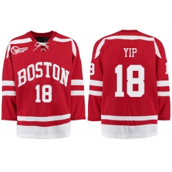 Boston University Terriers BU 18 Brandon Yip Red Stitched Hockey Jersey