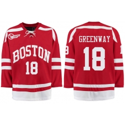 Boston University Terriers BU 18 Jordan Greenway Red Stitched Hockey Jersey