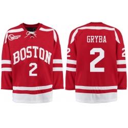 Boston University Terriers BU 2 Eric Gryba Red Stitched Hockey Jersey