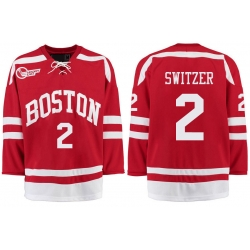 Boston University Terriers BU 2 Shane Switzer Red Stitched Hockey Jersey