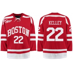 Boston University Terriers BU 22 Tommy Kelley Red Stitched Hockey Jersey