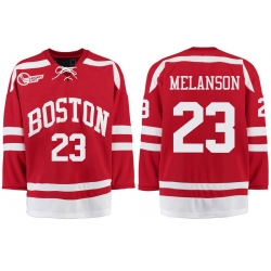 Boston University Terriers BU 23 Drew Melanson Red Stitched Hockey Jersey