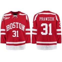 Boston University Terriers BU 31 Max Prawdzik Red Stitched Hockey Jersey
