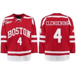 Boston University Terriers BU 4 Adam Clendening Red Stitched Hockey Jersey