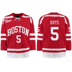 Boston University Terriers BU 5 Chad Krys Red Stitched Hockey Jersey