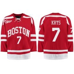 Boston University Terriers BU 7 Chad Krys Red Stitched Hockey Jersey