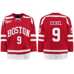 Boston University Terriers BU 9 Jack Eichel Red Stitched Hockey Jersey