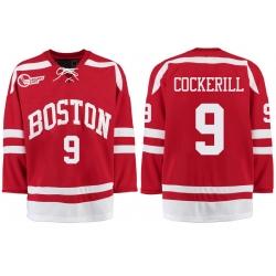Boston University Terriers BU 9 Logan Cockerill Red Stitched Hockey Jersey