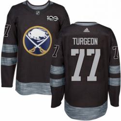 Mens Adidas Buffalo Sabres 77 Pierre Turgeon Authentic Black 1917 2017 100th Anniversary NHL Jersey