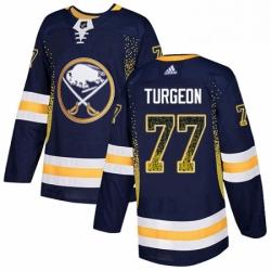 Mens Adidas Buffalo Sabres 77 Pierre Turgeon Authentic Navy Blue Drift Fashion NHL Jersey