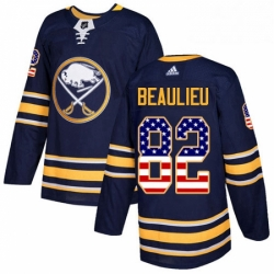 Mens Adidas Buffalo Sabres 82 Nathan Beaulieu Authentic Navy Blue USA Flag Fashion NHL Jersey