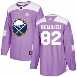 Mens Adidas Buffalo Sabres 82 Nathan Beaulieu Authentic Purple Fights Cancer Practice NHL Jersey
