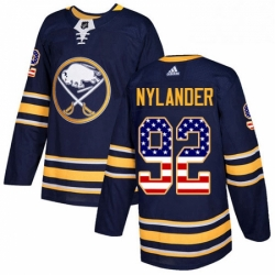 Mens Adidas Buffalo Sabres 92 Alexander Nylander Authentic Navy Blue USA Flag Fashion NHL Jersey