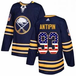 Mens Adidas Buffalo Sabres 93 Victor Antipin Authentic Navy Blue USA Flag Fashion NHL Jersey