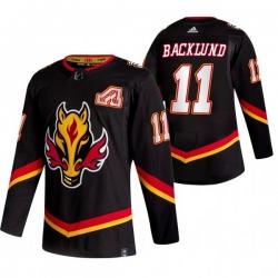 Men Calgary Flames 11 Mikael Backlund Black Adidas 2020 21 Reverse Retro Alternate NHL Jersey