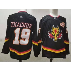 Men Calgary Flames 19 Matthew Tkachuk Black 2020 21 Reverse Retro Adidas Jersey