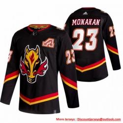 Men Calgary Flames 23 Sean Monahan Black Adidas 2020 21 Reverse Retro Alternate NHL Jersey