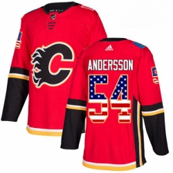 Mens Adidas Calgary Flames 54 Rasmus Andersson Authentic Red USA Flag Fashion NHL Jersey