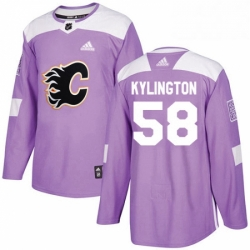 Mens Adidas Calgary Flames 58 Oliver Kylington Authentic Purple Fights Cancer Practice NHL Jersey