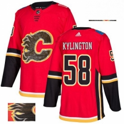 Mens Adidas Calgary Flames 58 Oliver Kylington Authentic Red Fashion Gold NHL Jersey