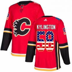 Mens Adidas Calgary Flames 58 Oliver Kylington Authentic Red USA Flag Fashion NHL Jersey