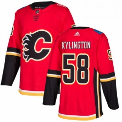 Mens Adidas Calgary Flames 58 Oliver Kylington Premier Red Home NHL Jersey