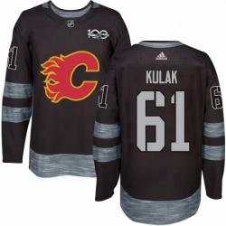 Mens Adidas Calgary Flames 61 Brett Kulak Authentic Black 1917 2017 100th Anniversary NHL Jersey