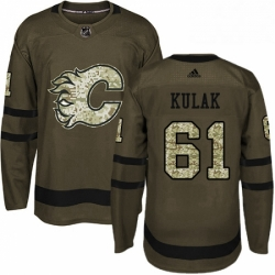 Mens Adidas Calgary Flames 61 Brett Kulak Authentic Green Salute to Service NHL Jersey