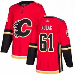 Mens Adidas Calgary Flames 61 Brett Kulak Authentic Red Home NHL Jersey