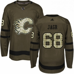 Mens Adidas Calgary Flames 68 Jaromir Jagr Authentic Green Salute to Service NHL Jersey