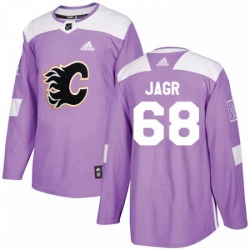Mens Adidas Calgary Flames 68 Jaromir Jagr Authentic Purple Fights Cancer Practice NHL Jersey